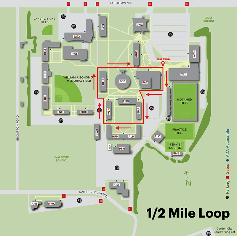 Adelphi Campus Map Campus Walking Map | Walk Adelphi | Health and Wellness